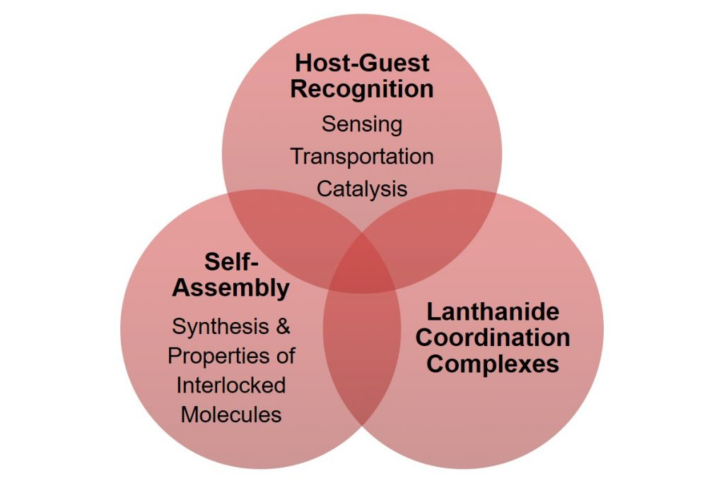 Venn Diagram showing the overlap of Host-Guest Recognition, Self-Assembly and Lanthanide Coordination Complexes